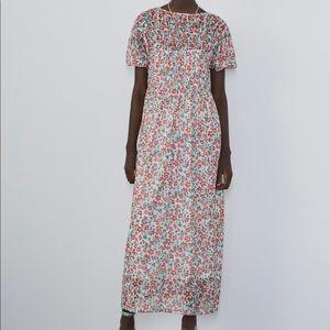 Zara floral print tulle dress NWT small midi